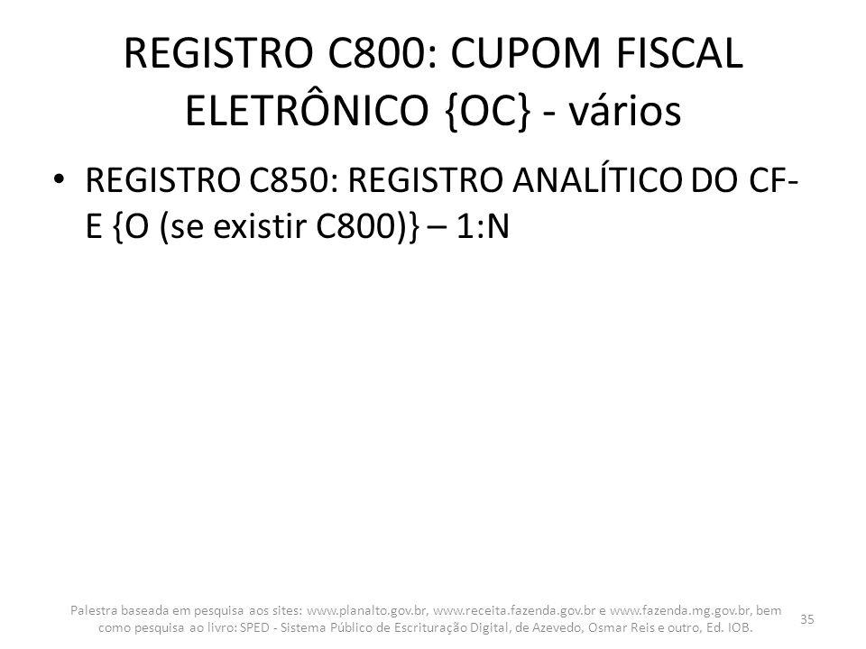 REGISTRO C800: CUPOM FISCAL ELETRÔNICO {OC} - vários REGISTRO C850: REGISTRO ANALÍTICO DO CF- E {O (se existir C800)} – 1:N Palestra baseada em pesqui