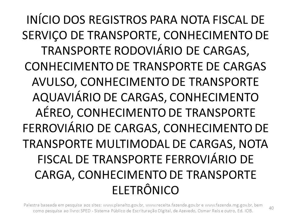 INÍCIO DOS REGISTROS PARA NOTA FISCAL DE SERVIÇO DE TRANSPORTE, CONHECIMENTO DE TRANSPORTE RODOVIÁRIO DE CARGAS, CONHECIMENTO DE TRANSPORTE DE CARGAS