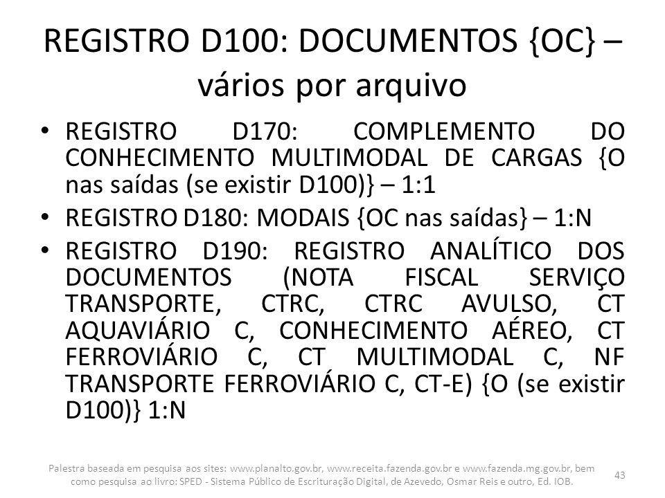 REGISTRO D100: DOCUMENTOS {OC} – vários por arquivo REGISTRO D170: COMPLEMENTO DO CONHECIMENTO MULTIMODAL DE CARGAS {O nas saídas (se existir D100)} –