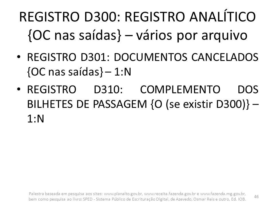 REGISTRO D300: REGISTRO ANALÍTICO {OC nas saídas} – vários por arquivo REGISTRO D301: DOCUMENTOS CANCELADOS {OC nas saídas} – 1:N REGISTRO D310: COMPL