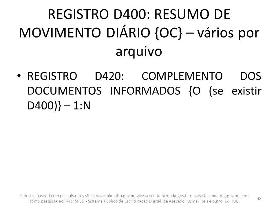 REGISTRO D400: RESUMO DE MOVIMENTO DIÁRIO {OC} – vários por arquivo REGISTRO D420: COMPLEMENTO DOS DOCUMENTOS INFORMADOS {O (se existir D400)} – 1:N P