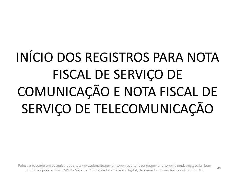 INÍCIO DOS REGISTROS PARA NOTA FISCAL DE SERVIÇO DE COMUNICAÇÃO E NOTA FISCAL DE SERVIÇO DE TELECOMUNICAÇÃO Palestra baseada em pesquisa aos sites: ww
