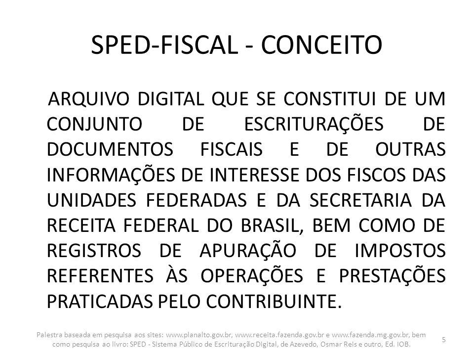 SPED-FISCAL - CONCEITO ARQUIVO DIGITAL QUE SE CONSTITUI DE UM CONJUNTO DE ESCRITURAÇÕES DE DOCUMENTOS FISCAIS E DE OUTRAS INFORMAÇÕES DE INTERESSE DOS