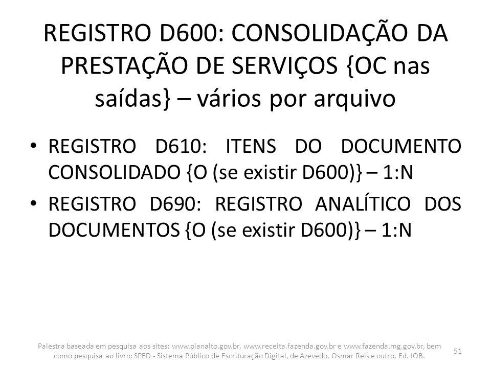 REGISTRO D600: CONSOLIDAÇÃO DA PRESTAÇÃO DE SERVIÇOS {OC nas saídas} – vários por arquivo REGISTRO D610: ITENS DO DOCUMENTO CONSOLIDADO {O (se existir