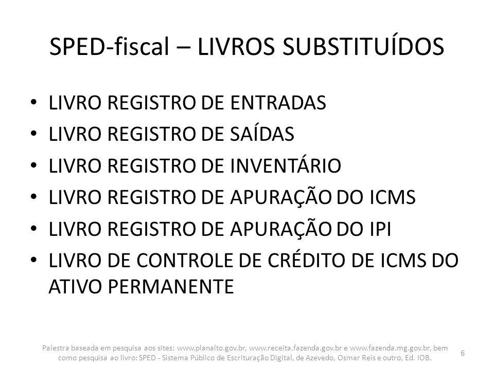 REGISTRO H005: TOTAIS DO INVENTÁRIO {OC} – 1:N REGISTRO H010: INVENTÁRIO {OC} – 1:N REGISTRO H020: INFORMAÇÃO COMPLEMENTAR DO INVENTÁRIO – 1:N Palestra baseada em pesquisa aos sites: www.planalto.gov.br, www.receita.fazenda.gov.br e www.fazenda.mg.gov.br, bem como pesquisa ao livro: SPED - Sistema Público de Escrituração Digital, de Azevedo, Osmar Reis e outro, Ed.