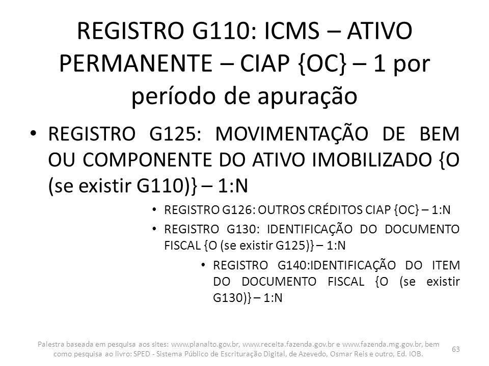 REGISTRO G110: ICMS – ATIVO PERMANENTE – CIAP {OC} – 1 por período de apuração REGISTRO G125: MOVIMENTAÇÃO DE BEM OU COMPONENTE DO ATIVO IMOBILIZADO {