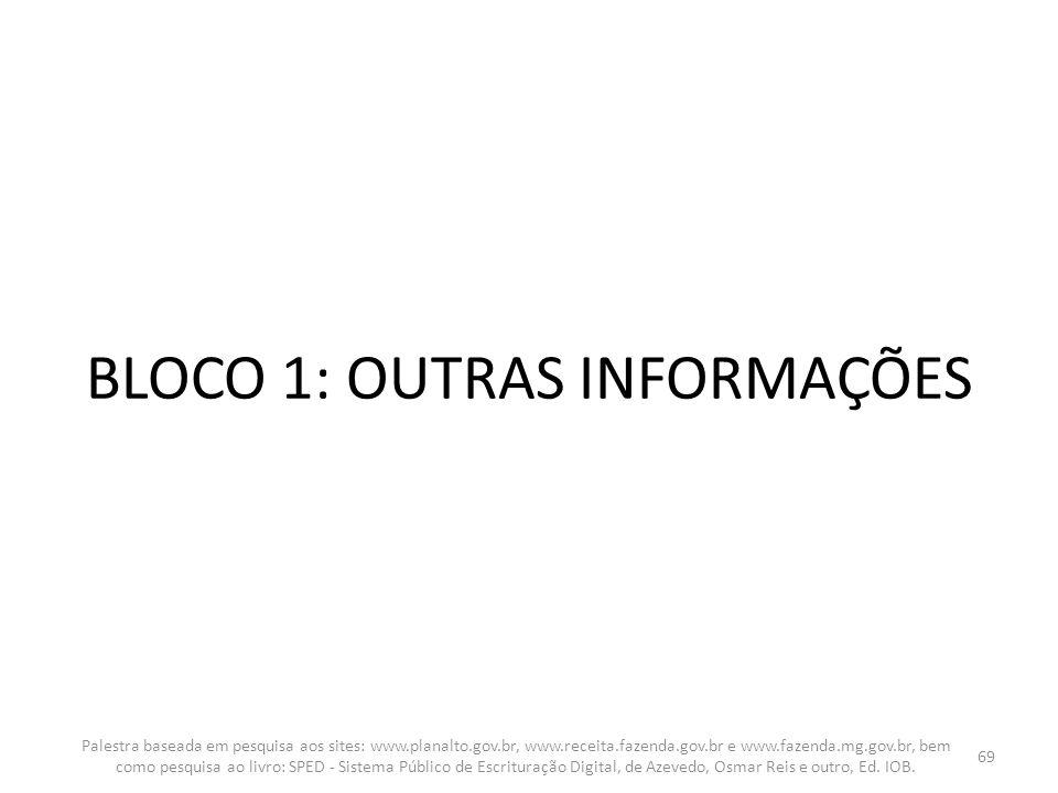 BLOCO 1: OUTRAS INFORMAÇÕES Palestra baseada em pesquisa aos sites: www.planalto.gov.br, www.receita.fazenda.gov.br e www.fazenda.mg.gov.br, bem como