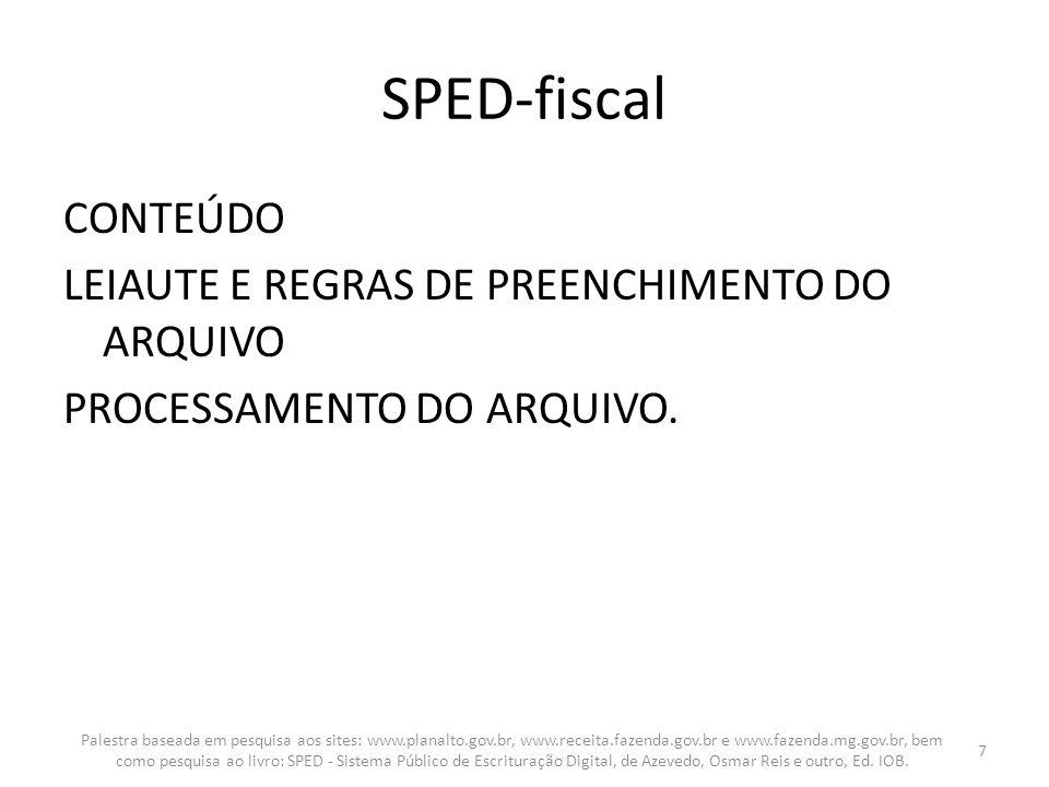 SPED-fiscal CONTEÚDO LEIAUTE E REGRAS DE PREENCHIMENTO DO ARQUIVO PROCESSAMENTO DO ARQUIVO. Palestra baseada em pesquisa aos sites: www.planalto.gov.b