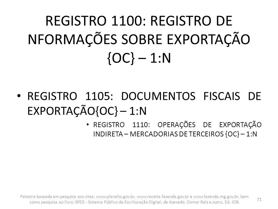 REGISTRO 1100: REGISTRO DE NFORMAÇÕES SOBRE EXPORTAÇÃO {OC} – 1:N REGISTRO 1105: DOCUMENTOS FISCAIS DE EXPORTAÇÃO{OC} – 1:N REGISTRO 1110: OPERAÇÕES D