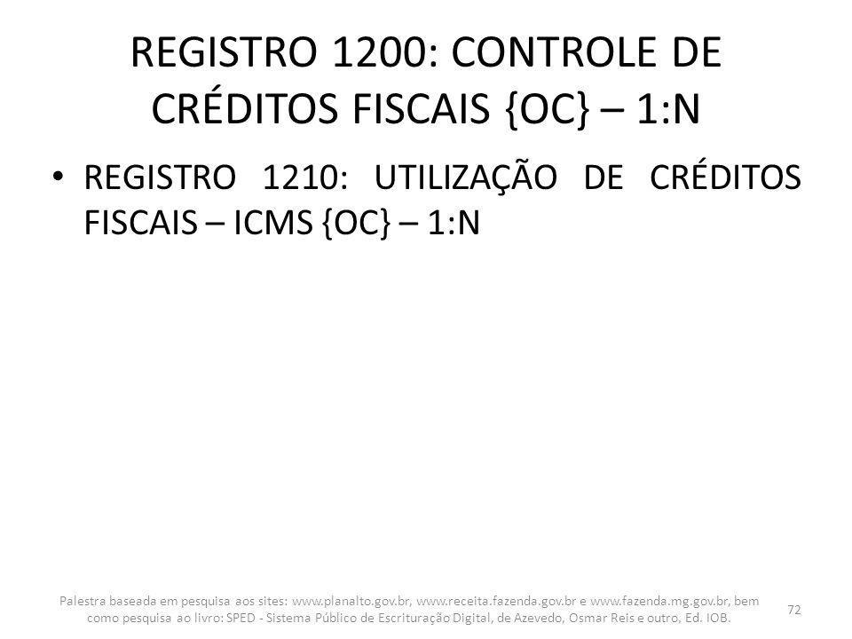 REGISTRO 1200: CONTROLE DE CRÉDITOS FISCAIS {OC} – 1:N REGISTRO 1210: UTILIZAÇÃO DE CRÉDITOS FISCAIS – ICMS {OC} – 1:N Palestra baseada em pesquisa ao