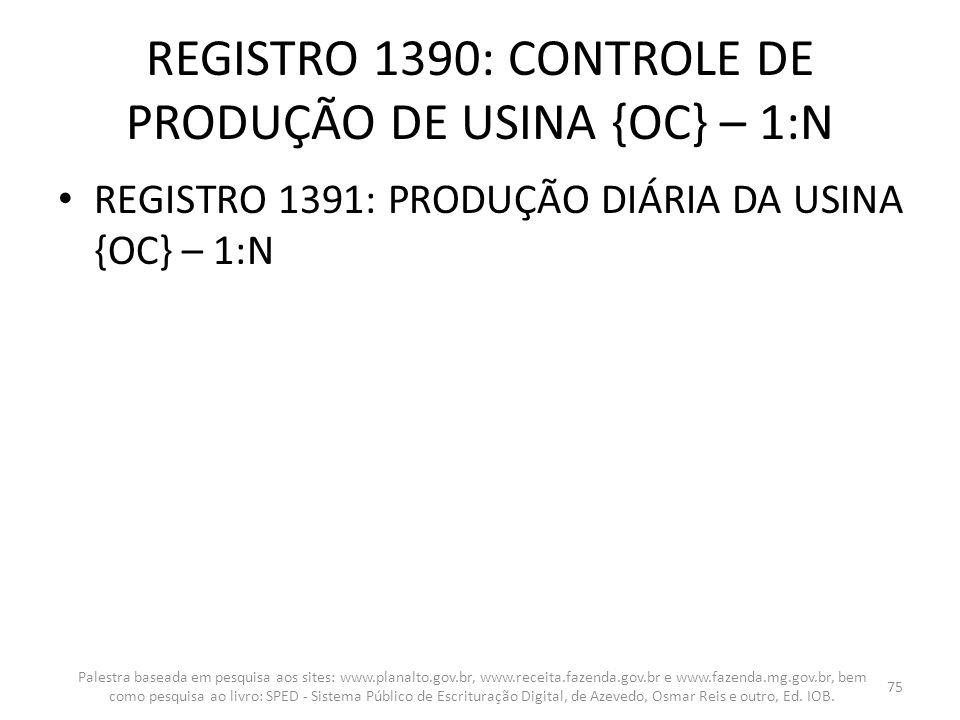 REGISTRO 1390: CONTROLE DE PRODUÇÃO DE USINA {OC} – 1:N REGISTRO 1391: PRODUÇÃO DIÁRIA DA USINA {OC} – 1:N Palestra baseada em pesquisa aos sites: www