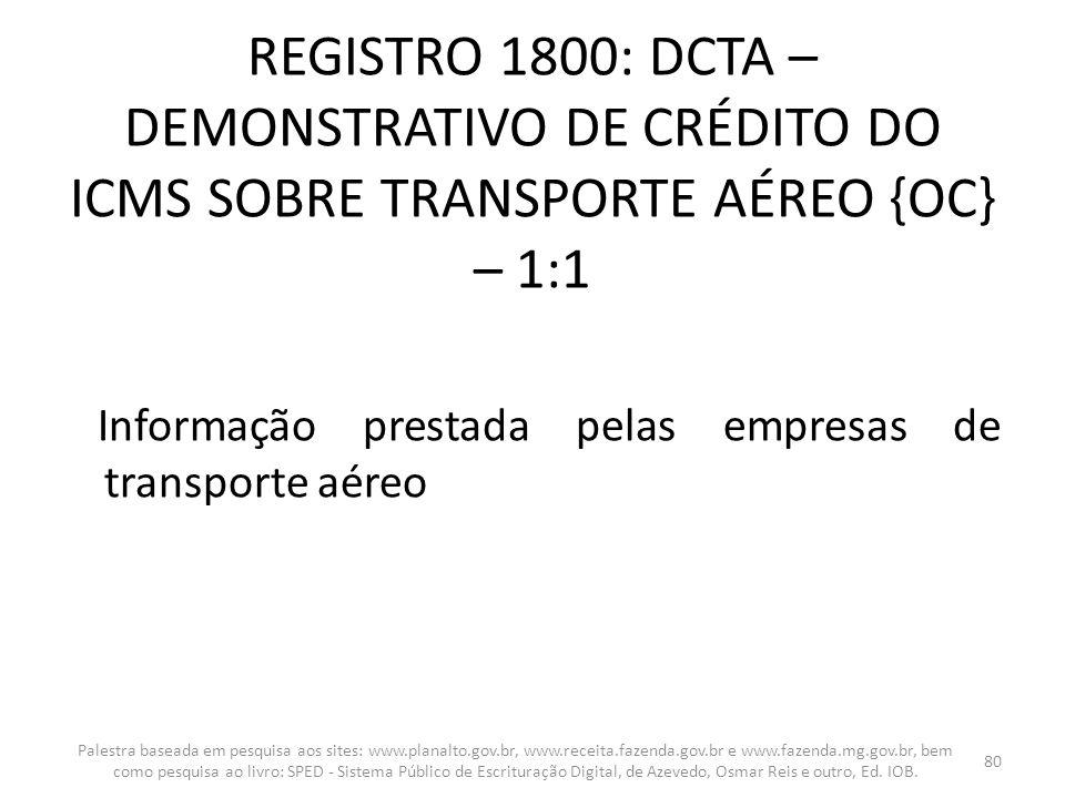 REGISTRO 1800: DCTA – DEMONSTRATIVO DE CRÉDITO DO ICMS SOBRE TRANSPORTE AÉREO {OC} – 1:1 Informação prestada pelas empresas de transporte aéreo Palest