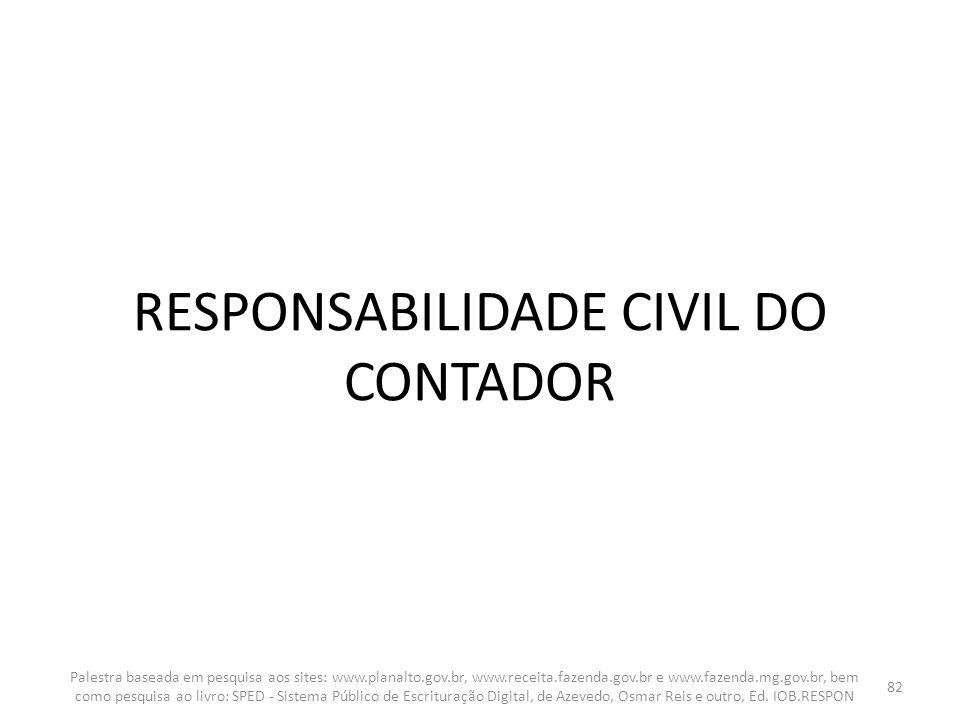 RESPONSABILIDADE CIVIL DO CONTADOR Palestra baseada em pesquisa aos sites: www.planalto.gov.br, www.receita.fazenda.gov.br e www.fazenda.mg.gov.br, be