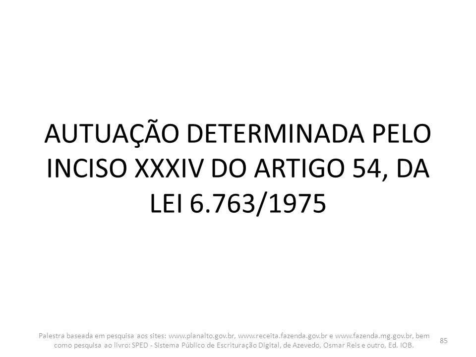 AUTUAÇÃO DETERMINADA PELO INCISO XXXIV DO ARTIGO 54, DA LEI 6.763/1975 Palestra baseada em pesquisa aos sites: www.planalto.gov.br, www.receita.fazend