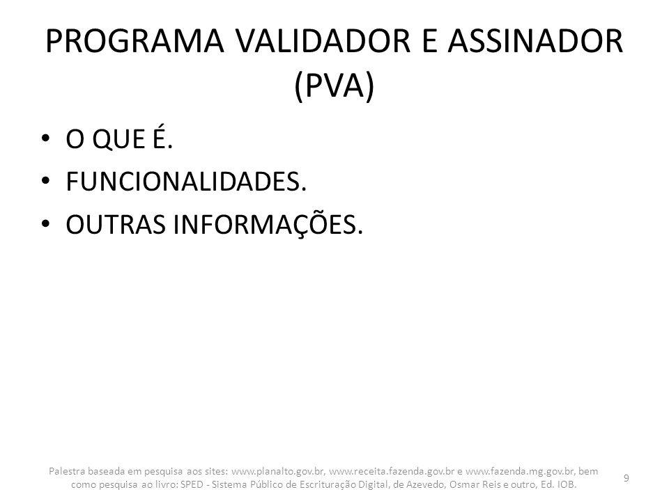 PROGRAMA VALIDADOR E ASSINADOR (PVA) O QUE É. FUNCIONALIDADES. OUTRAS INFORMAÇÕES. Palestra baseada em pesquisa aos sites: www.planalto.gov.br, www.re