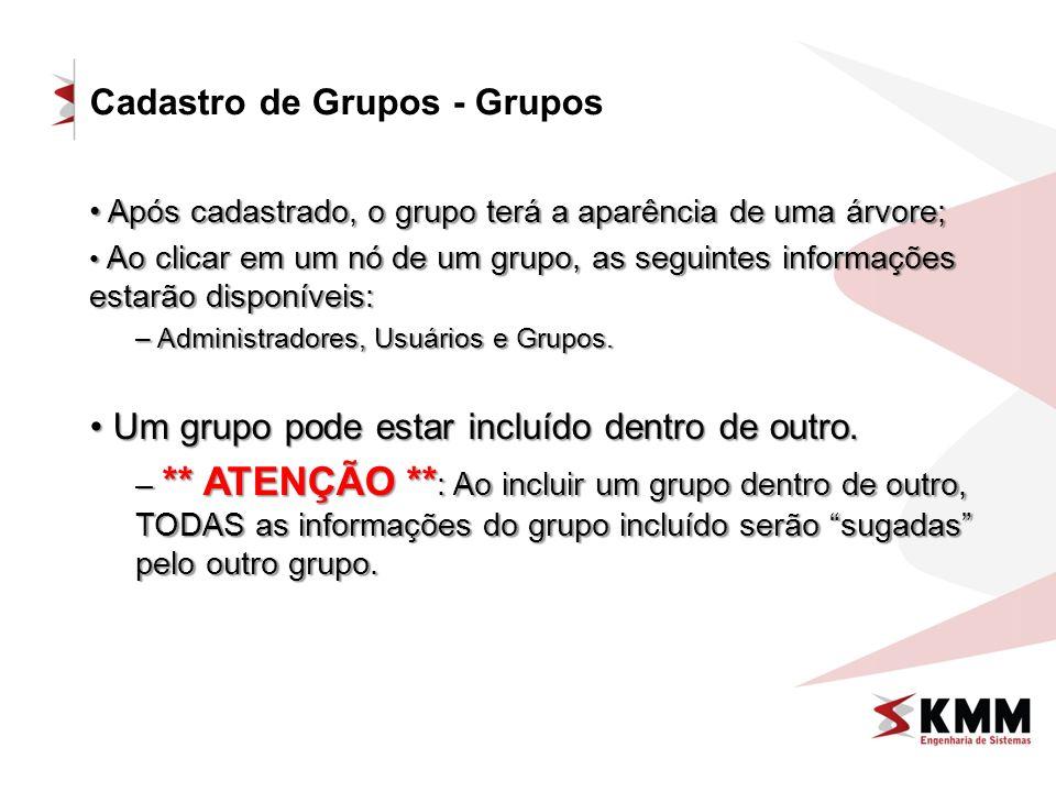 Cadastro de Grupos - Grupos Após cadastrado, o grupo terá a aparência de uma árvore; Após cadastrado, o grupo terá a aparência de uma árvore; Ao clica