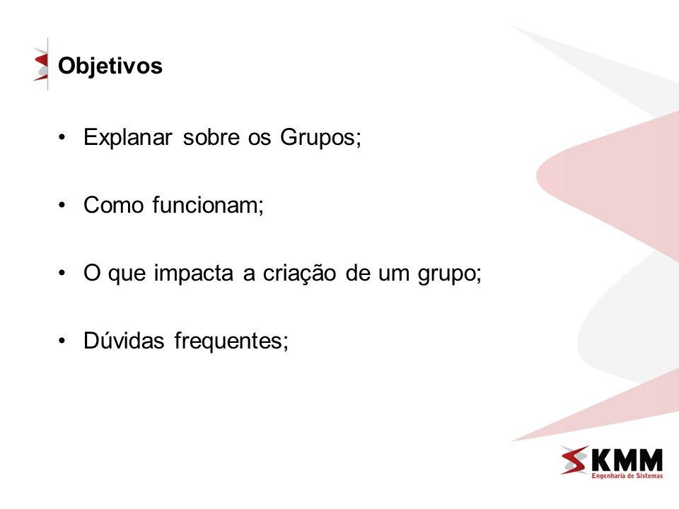 Objetivos Explanar sobre os Grupos; Como funcionam; O que impacta a criação de um grupo; Dúvidas frequentes;