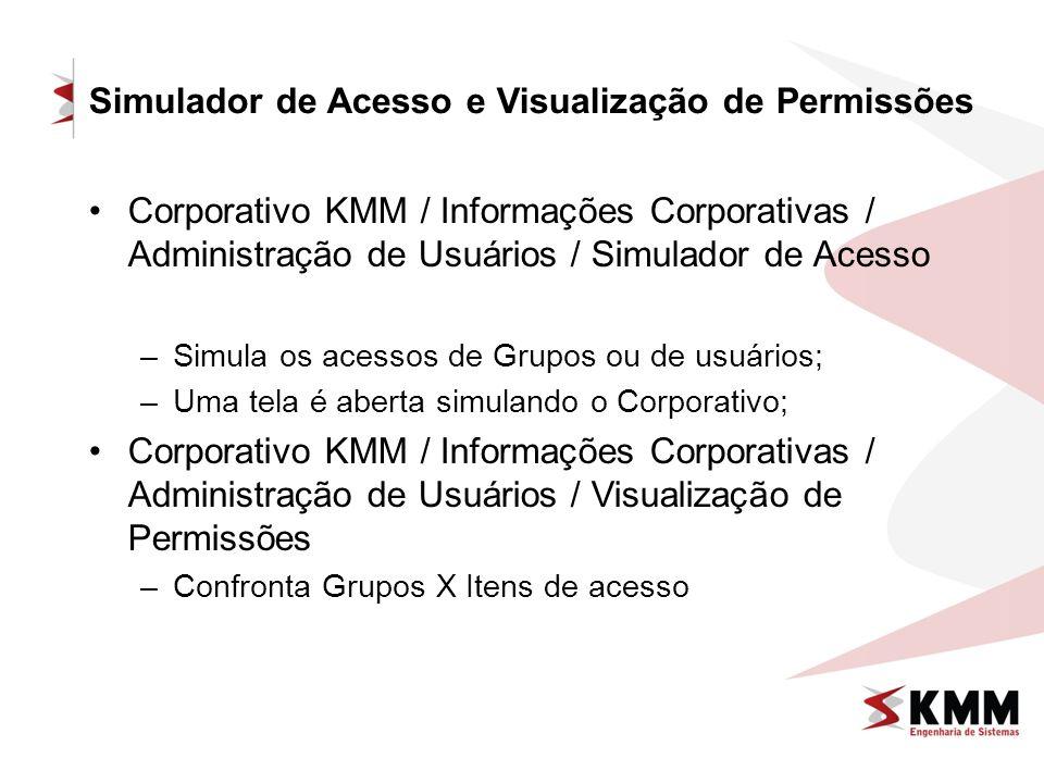 Simulador de Acesso e Visualização de Permissões Corporativo KMM / Informações Corporativas / Administração de Usuários / Simulador de Acesso –Simula