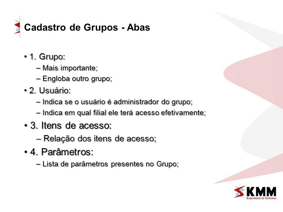Cadastro de Grupos - Abas 1. Grupo: 1. Grupo: – Mais importante; – Engloba outro grupo; 2. Usuário: 2. Usuário: – Indica se o usuário é administrador