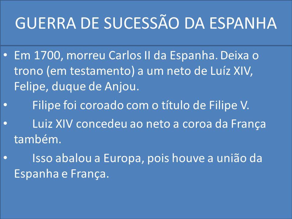 GUERRA DE SUCESSÃO DA ESPANHA Em 1700, morreu Carlos II da Espanha.