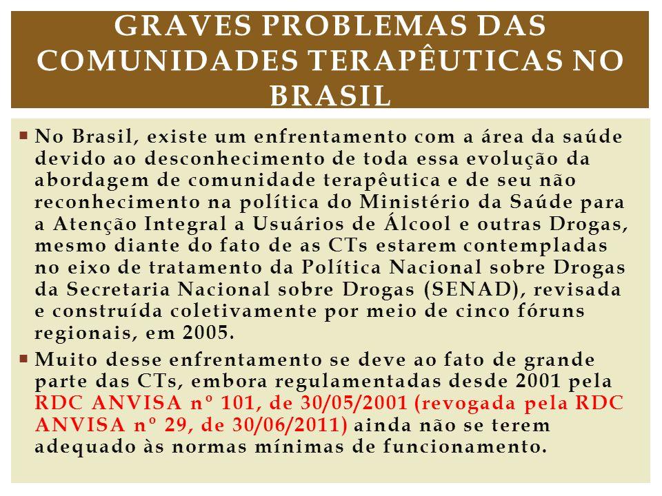 No Brasil, existe um enfrentamento com a área da saúde devido ao desconhecimento de toda essa evolução da abordagem de comunidade terapêutica e de seu