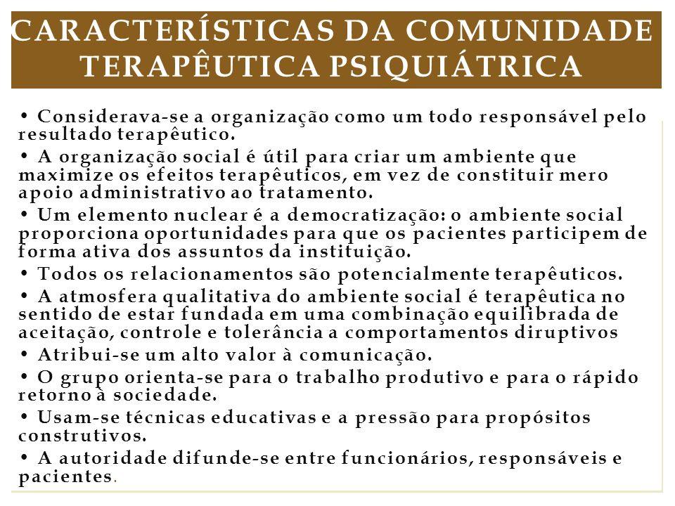 No Brasil, existe um enfrentamento com a área da saúde devido ao desconhecimento de toda essa evolução da abordagem de comunidade terapêutica e de seu não reconhecimento na política do Ministério da Saúde para a Atenção Integral a Usuários de Álcool e outras Drogas, mesmo diante do fato de as CTs estarem contempladas no eixo de tratamento da Política Nacional sobre Drogas da Secretaria Nacional sobre Drogas (SENAD), revisada e construída coletivamente por meio de cinco fóruns regionais, em 2005.