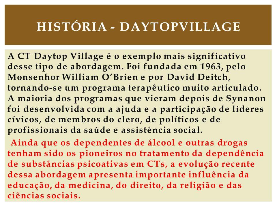 A CT Daytop Village é o exemplo mais significativo desse tipo de abordagem. Foi fundada em 1963, pelo Monsenhor William OBrien e por David Deitch, tor
