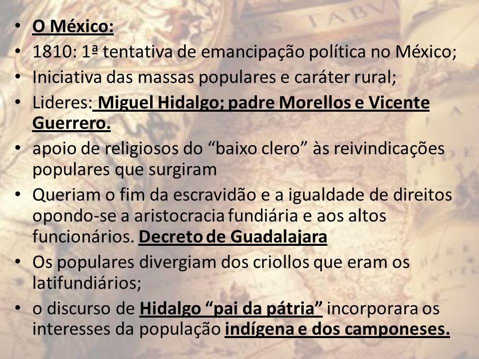 O México: 1810: 1ª tentativa de emancipação política no México; Iniciativa das massas populares e caráter rural; Lideres: Miguel Hidalgo; padre Morell