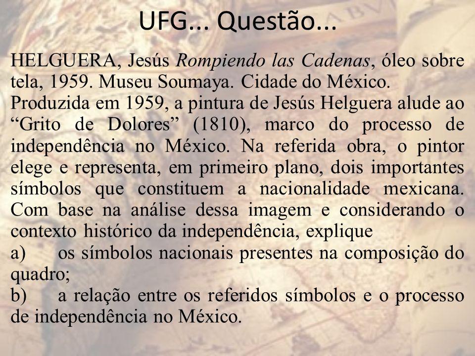 UFG... Questão... HELGUERA, Jesús Rompiendo las Cadenas, óleo sobre tela, 1959. Museu Soumaya. Cidade do México. Produzida em 1959, a pintura de Jesús