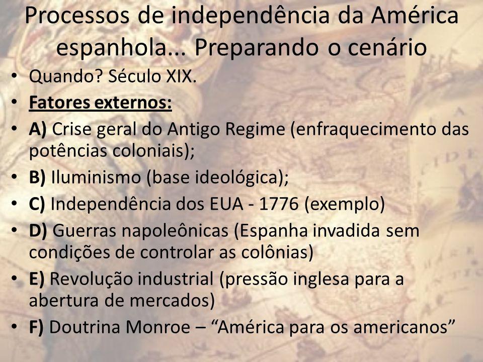Processos de independência da América espanhola... Preparando o cenário Quando? Século XIX. Fatores externos: A) Crise geral do Antigo Regime (enfraqu