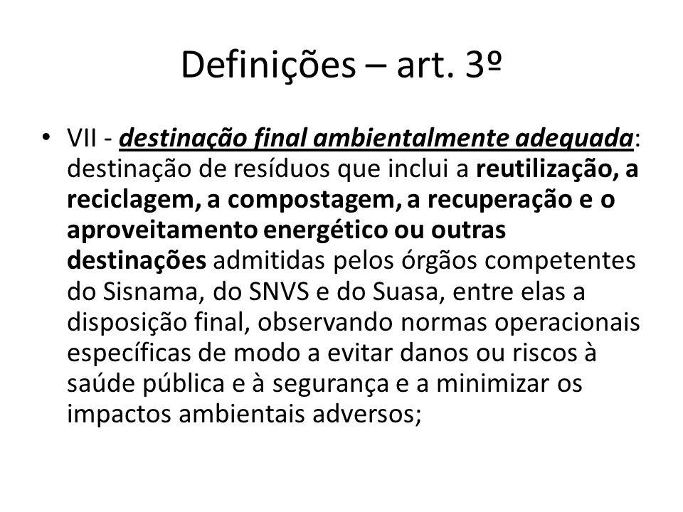 Definições – art. 3º VII - destinação final ambientalmente adequada: destinação de resíduos que inclui a reutilização, a reciclagem, a compostagem, a