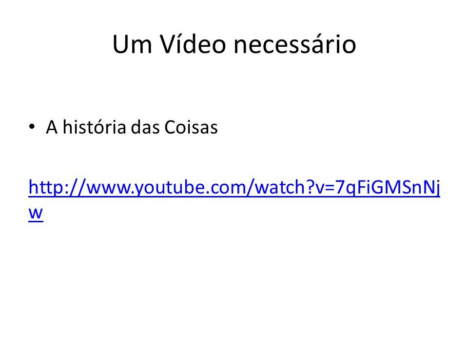 Um Vídeo necessário A história das Coisas http://www.youtube.com/watch?v=7qFiGMSnNj w
