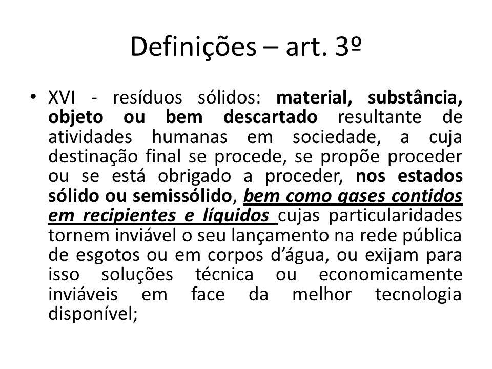 Definições – art. 3º XVI - resíduos sólidos: material, substância, objeto ou bem descartado resultante de atividades humanas em sociedade, a cuja dest