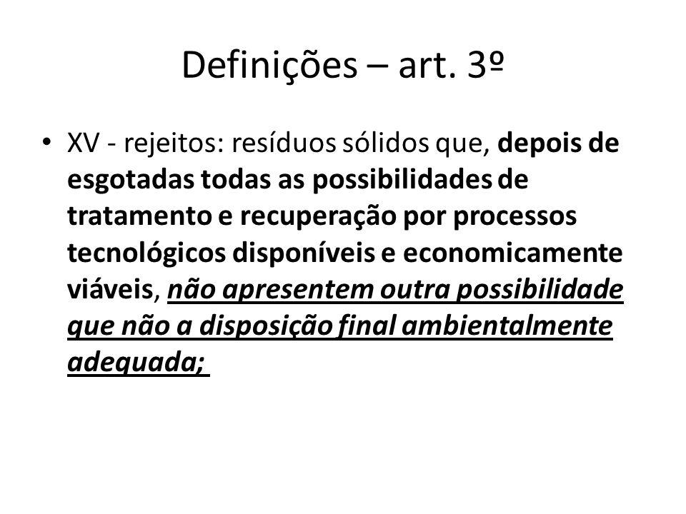 Definições – art. 3º XV - rejeitos: resíduos sólidos que, depois de esgotadas todas as possibilidades de tratamento e recuperação por processos tecnol