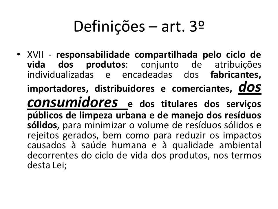 Definições – art. 3º XVII - responsabilidade compartilhada pelo ciclo de vida dos produtos: conjunto de atribuições individualizadas e encadeadas dos