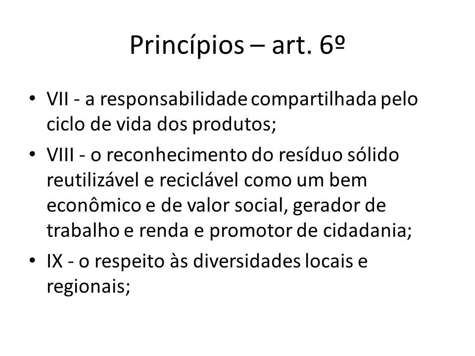 Princípios – art. 6º VII - a responsabilidade compartilhada pelo ciclo de vida dos produtos; VIII - o reconhecimento do resíduo sólido reutilizável e