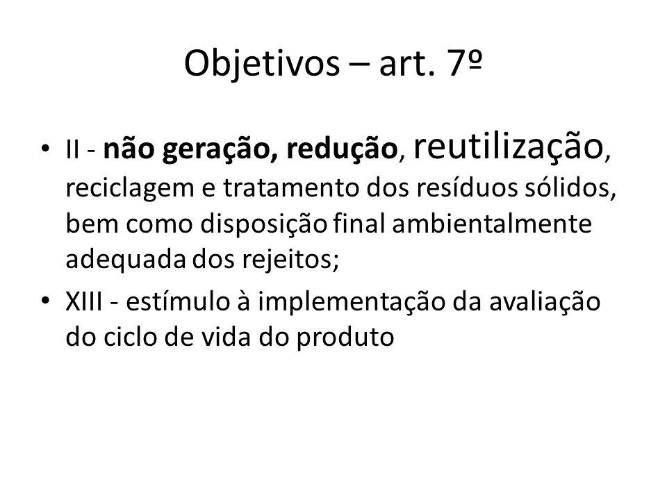 Objetivos – art. 7º II - não geração, redução, reutilização, reciclagem e tratamento dos resíduos sólidos, bem como disposição final ambientalmente ad