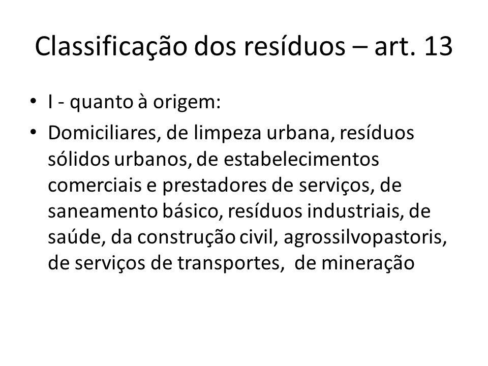 Classificação dos resíduos – art. 13 I - quanto à origem: Domiciliares, de limpeza urbana, resíduos sólidos urbanos, de estabelecimentos comerciais e
