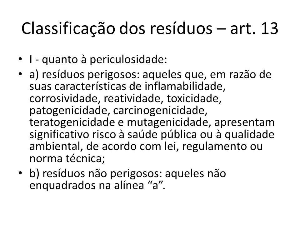 Classificação dos resíduos – art. 13 I - quanto à periculosidade: a) resíduos perigosos: aqueles que, em razão de suas características de inflamabilid