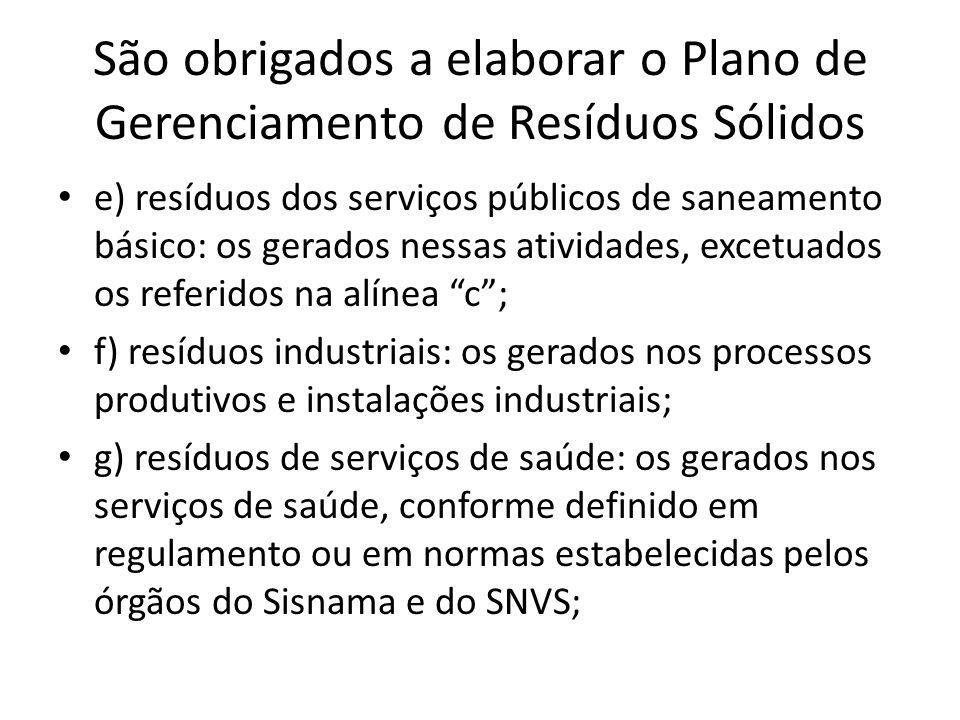 São obrigados a elaborar o Plano de Gerenciamento de Resíduos Sólidos e) resíduos dos serviços públicos de saneamento básico: os gerados nessas ativid
