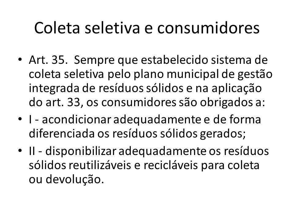 Coleta seletiva e consumidores Art. 35. Sempre que estabelecido sistema de coleta seletiva pelo plano municipal de gestão integrada de resíduos sólido