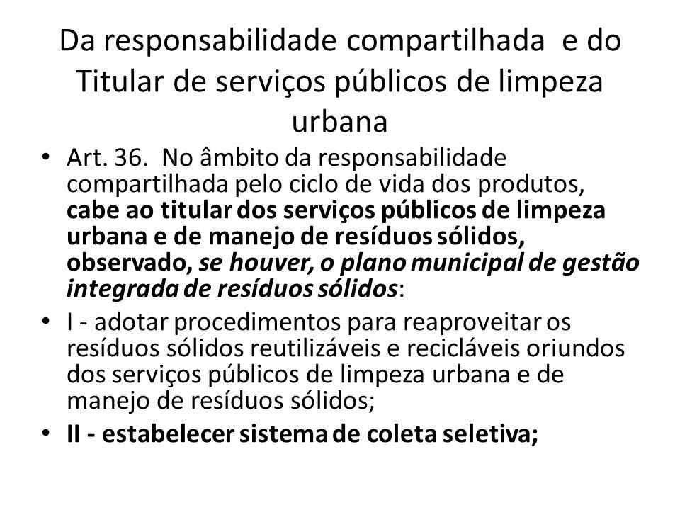 Da responsabilidade compartilhada e do Titular de serviços públicos de limpeza urbana Art. 36. No âmbito da responsabilidade compartilhada pelo ciclo