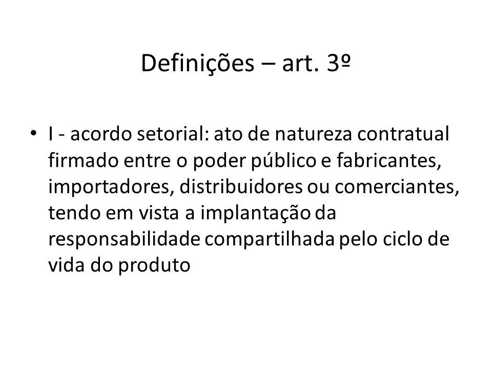 Definições – art. 3º I - acordo setorial: ato de natureza contratual firmado entre o poder público e fabricantes, importadores, distribuidores ou come
