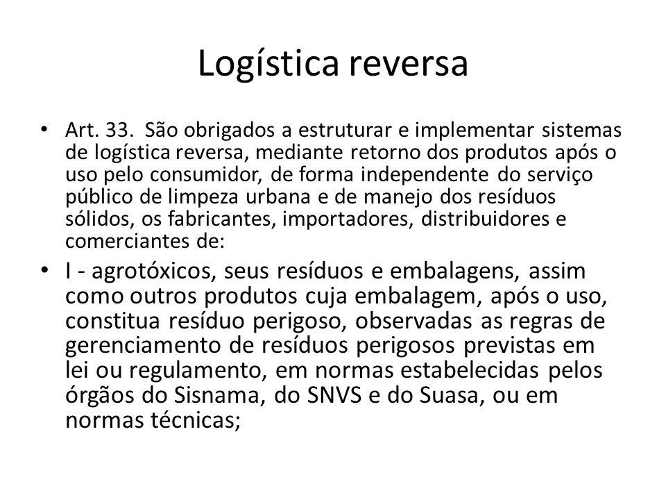 Logística reversa Art. 33. São obrigados a estruturar e implementar sistemas de logística reversa, mediante retorno dos produtos após o uso pelo consu
