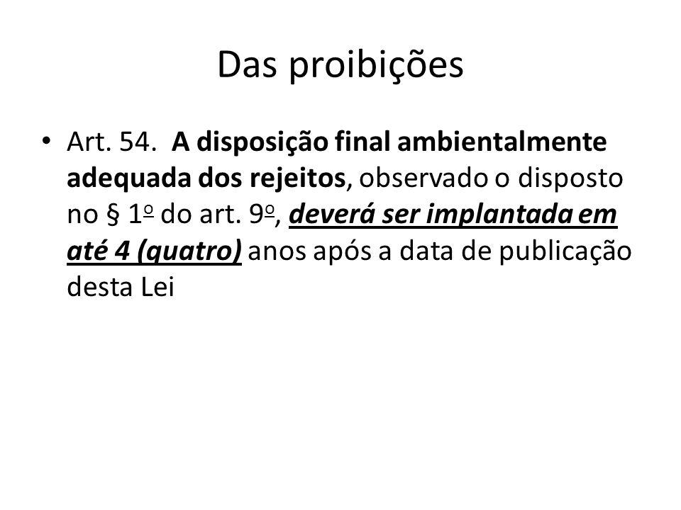 Das proibições Art. 54. A disposição final ambientalmente adequada dos rejeitos, observado o disposto no § 1 o do art. 9 o, deverá ser implantada em a