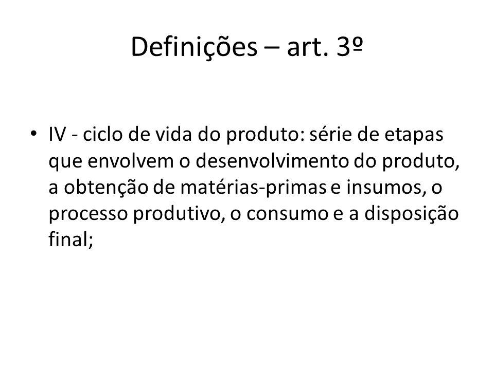 Definições – art. 3º IV - ciclo de vida do produto: série de etapas que envolvem o desenvolvimento do produto, a obtenção de matérias-primas e insumos