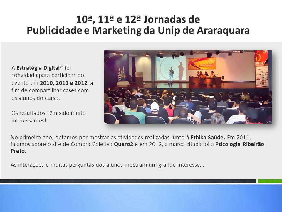 A Estratégia Digital® foi convidada para participar do evento em 2010, 2011 e 2012 a fim de compartilhar cases com os alunos do curso. Os resultados t