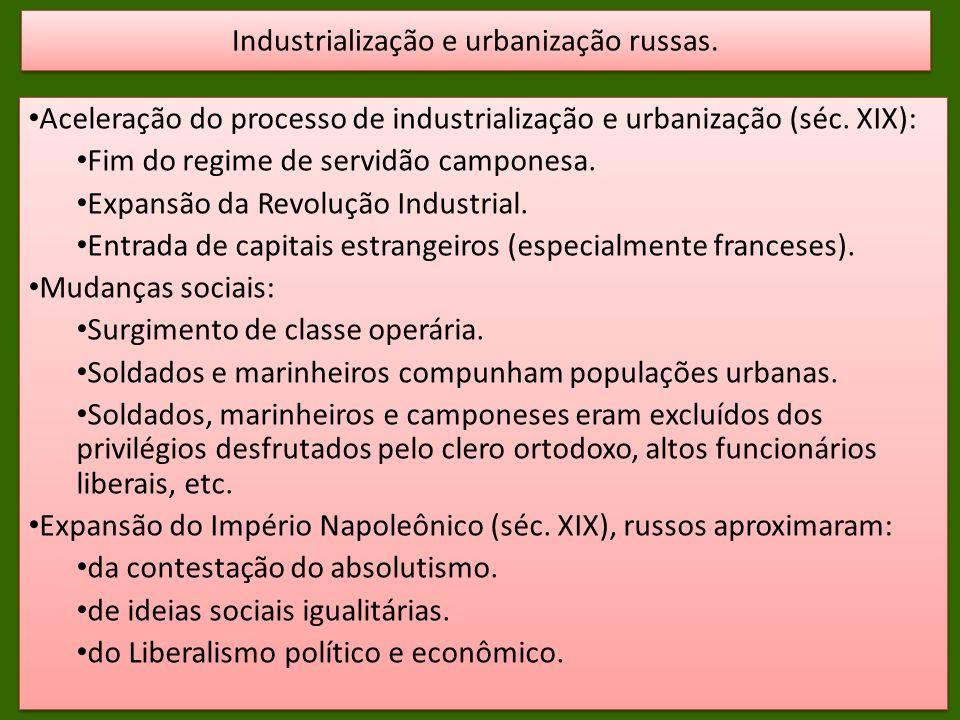Aceleração do processo de industrialização e urbanização (séc.