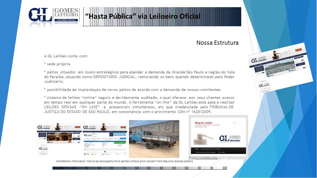 A GL Leilões conta com: * sede própria * pátios situados em locais estratégicos para atender a demanda da Grande São Paulo e região do Vale do Paraíba