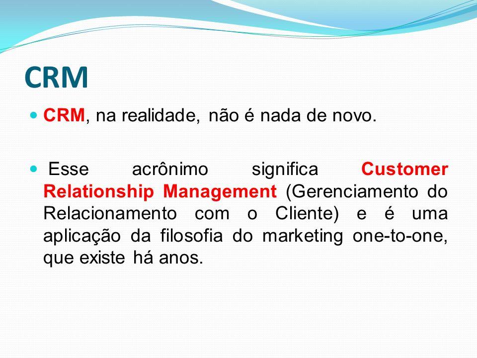 CRM CRM, na realidade, não é nada de novo. Esse acrônimo significa Customer Relationship Management (Gerenciamento do Relacionamento com o Cliente) e